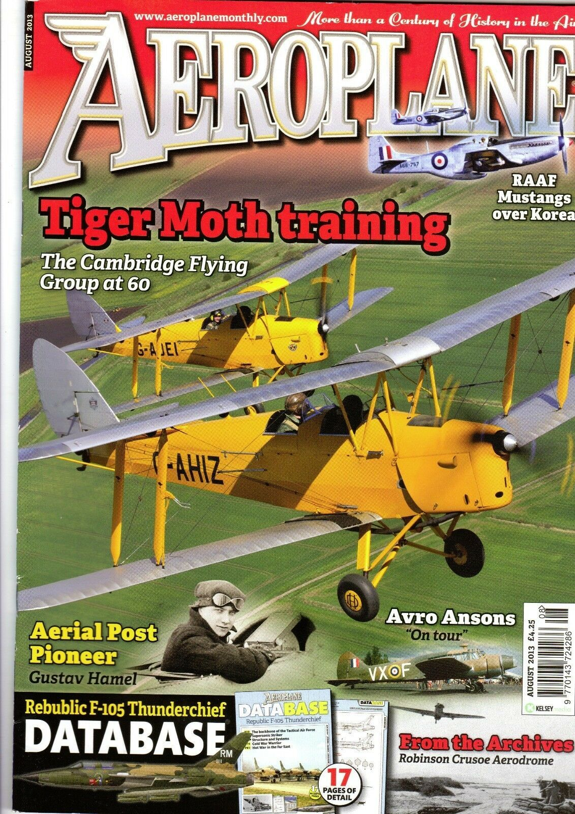 Aeroplane Monthly Magazine 2013 August Tiger Moth,F-105 Thunderchief,RAAF  P-51