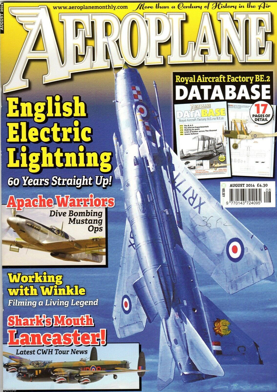 Aeroplane Monthly Magazine 2014 August Lightning,Royal Aircraft Factory  BE2,A-36,Yak-11
